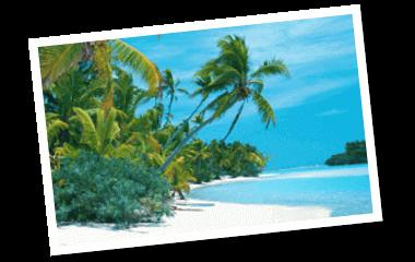 Traumreise Insel mit Palmen und blauem Meer Gewinne