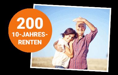 Glückliches Paar mit Störer 200 10-Jahres-Renten